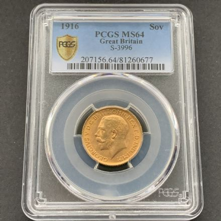 1916 Gold Sovereign  London  PCGS Mint  State  64